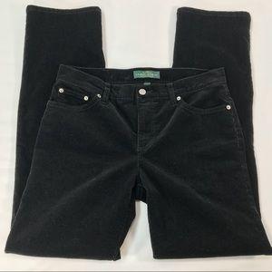 RALPH LAUREN black straight leg corduroy pants 8